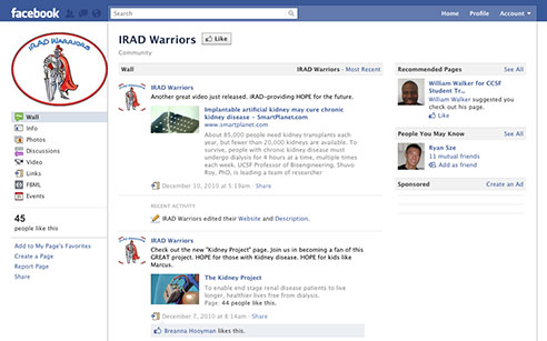screenshot of Facebook page for IRAD Warriors
