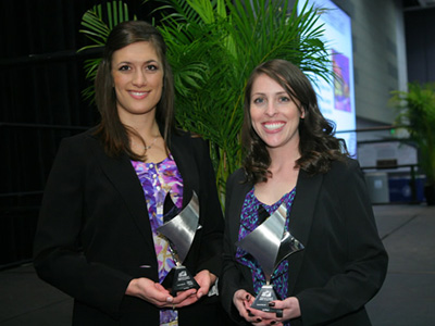 Clinical Skills Competition winners Jennifer Murphy (left) and Rachelle Bermingham (right)