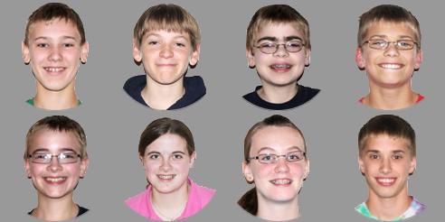 headshots of eight children