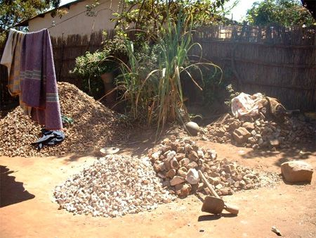 yard, rock crushing