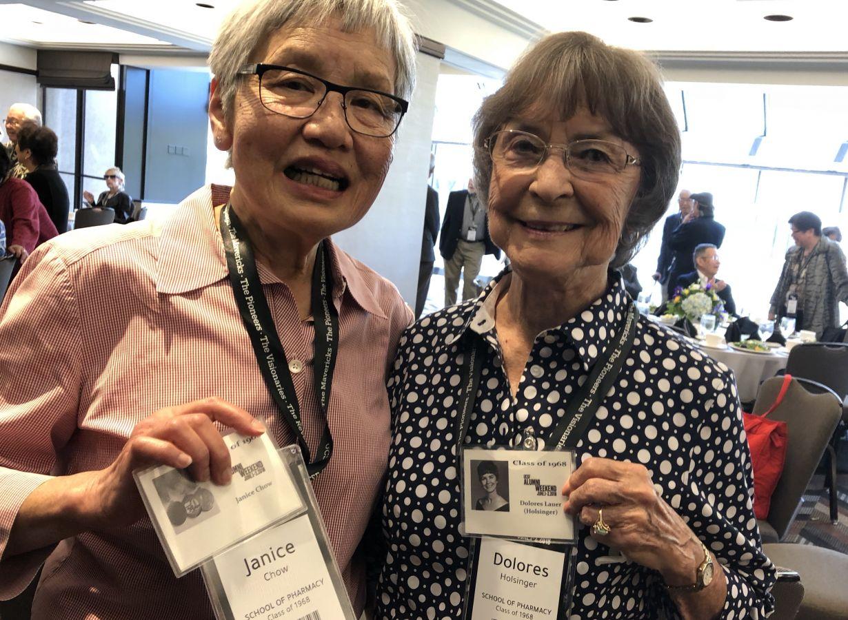 Janice Chow, PharmD '68, and Delores Holsinger PharmD '68