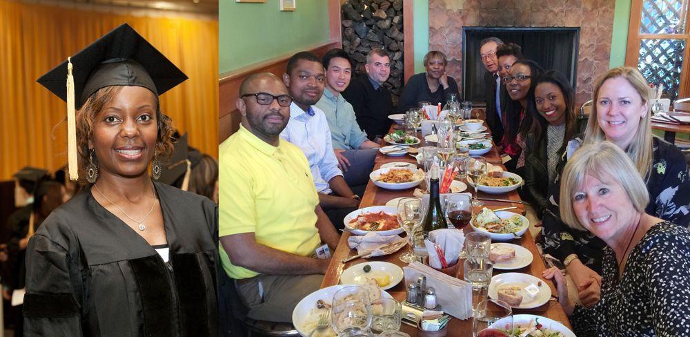 1: Mwangi at Commencement, 2: celebration group photo