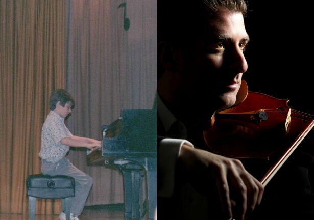Mendelsohn as a child at piano, and as an adult with violin