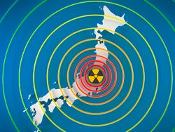 radiation symbol with radiating circles on top of a map of Japan