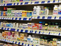 medications on grocery shelves