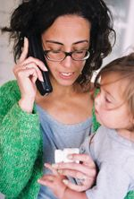 mother with child on the phone