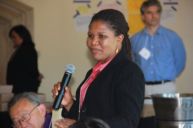 faculty member with microphone
