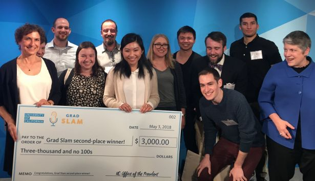 Yiqi Cao, second from right, earns second place in the UC Grad Slam Finals.