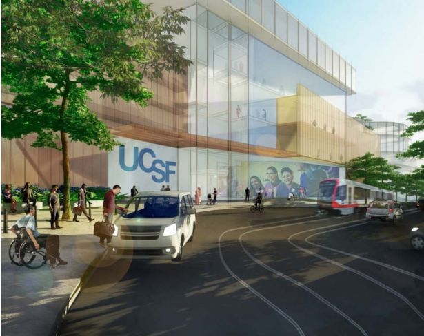 An architectural rendering of the Irving Street campus entrance.