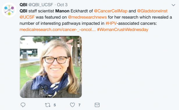 QBI staff scientist Manon Eckhardt of @CancerCellMap and @GladstoneInst @UCSF was featured on @medresearchnews for her research which revealed a number of interesting pathways impacted in #HPV-associated cancers: https://medicalresearch.com/cancer-_-oncol