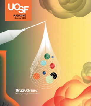 UCSF Magazine, Summer 2018, illustration of medicine exiting a syringe in a teardrop shape