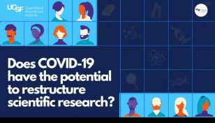 "A graphic introducing a QBI event titled ""Does COVID-19 have the potential to restructure scientific research"""