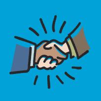 symposium logo of a handshake