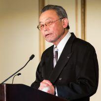 Kishi at podium