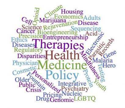 Word cloud: therapies, health, medicine, policy