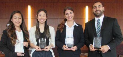 Kedzior, Totah, Kimura, and Cho holding their awards