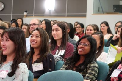 Students listen to a panel on becoming a pharmacist